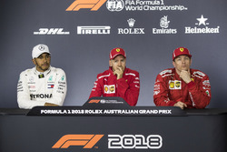 Lewis Hamilton, Mercedes-AMG F1, Sebastian Vettel, Ferrari and Kimi Raikkonen, Ferrari in the Press Conference