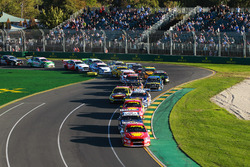 Scott McLaughlin, DJR Team Penske Ford, leads Jamie Whincup, Triple Eight Race Engineering Holden, Fabian Coulthard, DJR Team Penske Ford, Shane van Gisbergen, Triple Eight Race Engineering Holden, Chaz Mostert, Tickford Racing Ford, and the rest of the field at the start