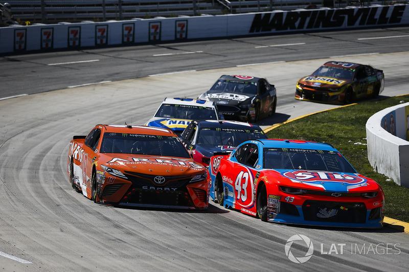 Darrell Wallace Jr., Richard Petty Motorsports, Chevrolet Camaro STP and Daniel Suarez, Joe Gibbs Racing, Toyota Camry ARRIS
