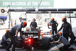 Fernando Alonso, McLaren MCL32, in the pits