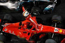 Sebastian Vettel, Ferrari, 1st position, celebrates victory on arrival in Parc Ferme
