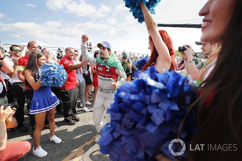 Lucas di Grassi, Audi Sport ABT Schaeffler, celebrates after winning the race