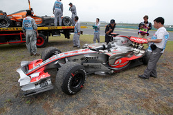 The car of Lewis Hamilton, McLaren Mercedes MP4/22 after he retired from the race