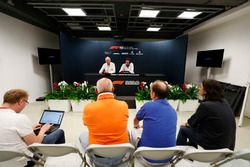 Charlie Whiting, Race Director, FIA, and Matteo Bonciani, FIA Media Delegate, brief reporters, including Adam Cooper during a press conference