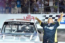 Justin Haley, GMS Racing, Chevrolet Silverado Fraternal Order Of Eagles celebrates his win