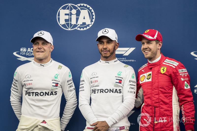 Valtteri Bottas, Mercedes-AMG F1, Lewis Hamilton, Mercedes-AMG F1 and Sebastian Vettel, Ferrari Celebrate in Parc ferme