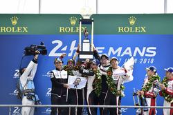 Overall podium: winners Sébastien Buemi, Kazuki Nakajima, Fernando Alonso, Toyota Gazoo Racing, second place Mike Conway, Kamui Kobayashi, Jose Maria Lopez, third place Mathias Beche, Gustavo Menezes, Thomas Laurent, Rebellion Racing
