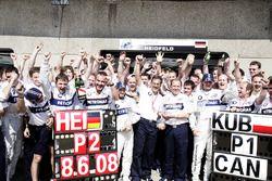 Le second Nick Heidfeld, BMW Sauber F1.08, le vainqueur Robert Kubica, BMW Sauber F1.08, Mario Theissen