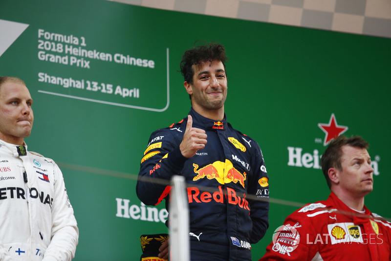 Chine - Podium : Daniel Ricciardo, Valtteri Bottas, Kimi Räikkönen