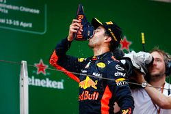 Race winner Daniel Ricciardo, Red Bull Racing, drinks a champagne
