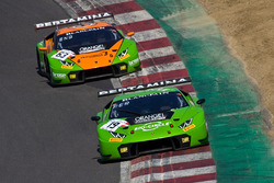 #19 GRT Grasser Racing Team Lamborghini Huracan GT3: Ezequiel Perez Companc, Andrea Caldarelli, #63 GRT Grasser Racing Team Lamborghini Huracan GT3: Mirko Bortolotti, Christian Engelhart