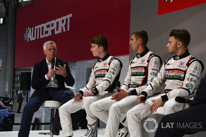 Derek Warwick, Dan Ticktum, Harrison Scott and Max Fewtrell talk to Henry Hope-Frost on the Autosport Stage