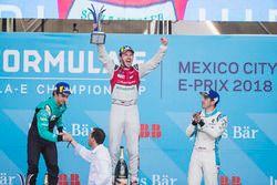Daniel Abt, Audi Sport ABT Schaeffler, celebrates on the podium after winning the race with Oliver T
