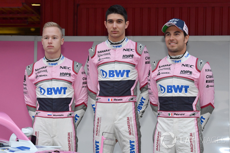 Nikita Mazepin, Sahara Force India F1, Esteban Ocon, Sahara Force India F1 y Sergio Perez, Sahara Force India