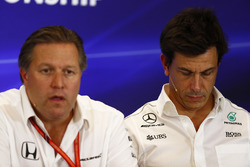 Zak Brown, Executive Director, McLaren Technology Group, Toto Wolff, Executive Director Mercedes AMG F1, in the Team Principals Press Conference