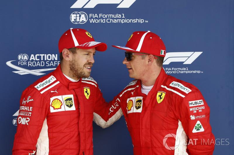 Sebastian Vettel, Ferrari, e Kimi Raikkonen, Ferrari