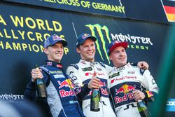 Podium: winner Mattias Ekström, EKS RX Audi S1, second place Timmy Hansen, Team Peugeot Hansen, thir