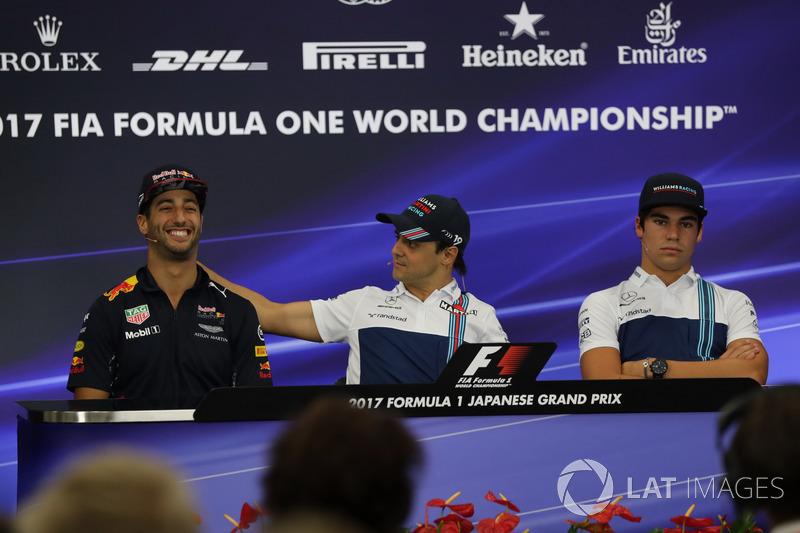 Daniel Ricciardo, Red Bull Racing, Felipe Massa, Williams and Lance Stroll, Williams di konferensi pers