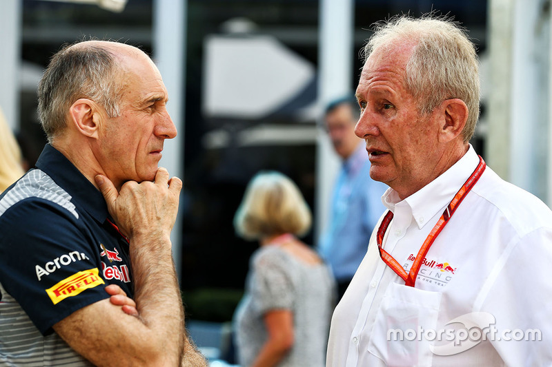 Franz Tost, teambaas Scuderia Toro Rosso, Dr Helmut Marko, Red Bull Motorsport Consultant