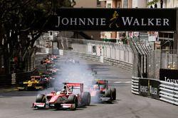Charles Leclerc, PREMA Powerteam leads Alexander Albon, ART Grand Prix