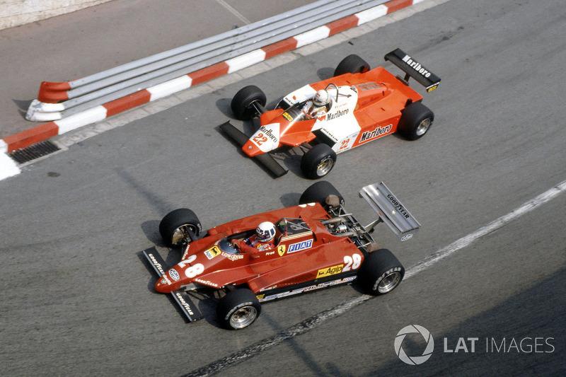 Didier Pironi, Ferrari 126C2 delante de Andrea de Cesaris, Alfa Romeo 182