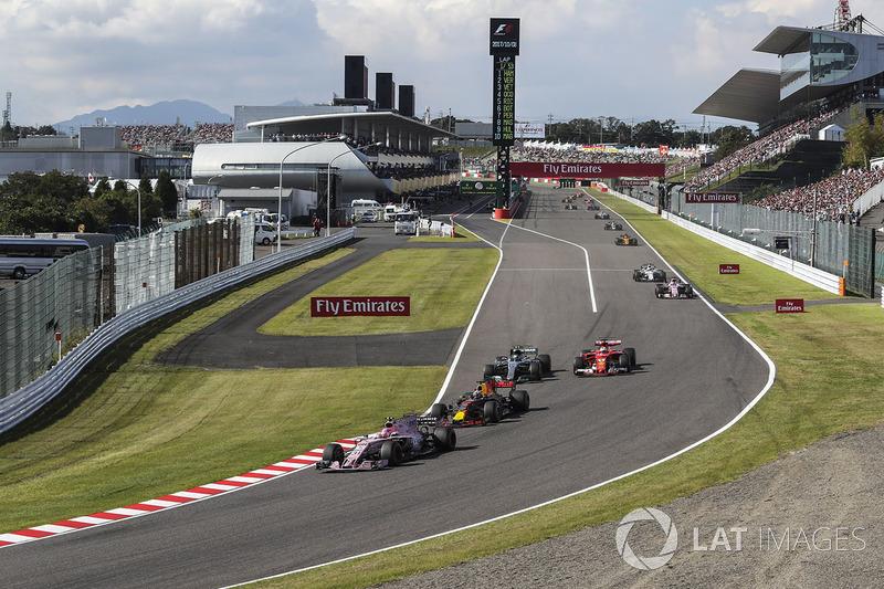 Esteban Ocon, Sahara Force India VJM10, Daniel Ricciardo, Red Bull Racing RB13, Valtteri Bottas, Mercedes-Benz F1 W08 and Sebastian Vettel, Ferrari SF70H