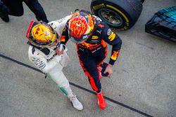 Race winner Lewis Hamilton, Mercedes AMG F1, Max Verstappen, Red Bull, second place, congratulate ea