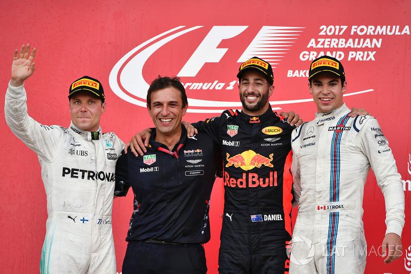 10- GP de Azerbaiyán 2017 (24 años, 9 meses y 27 días): 3º Lance Stroll, 2º Valtteri Bottas, 1º Daniel Ricciardo