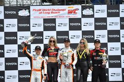 Podium: race winner Alvaro Parente, K-Pax Racing, third place Bryan Sellers, K-Pax Racing, second place Patrick Long, Wright Motorsports