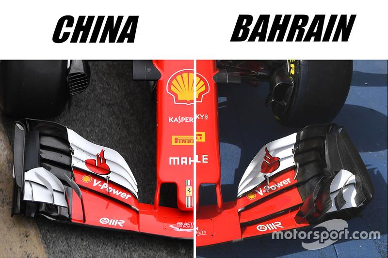 Ferrari SF70H: Frontflügel, Vergleich GP China vs. GP Bahrain