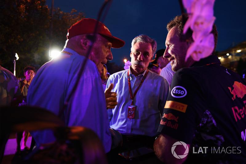 Chase Carey, Chief Executive Officer ed Executive Chairman del Formula One Group, Niki Lauda, Presid
