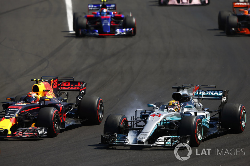 Lewis Hamilton, Mercedes AMG F1 W08, locks-up alongside Max Verstappen, Red Bull Racing RB13