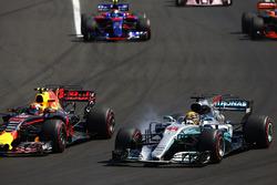 Lewis Hamilton, Mercedes AMG F1 W08, locks-up alongside Max Verstappen, Red Bull Racing RB13