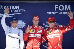 Polesitter Sebastian Vettel, Ferrari; 2. Kimi Raikkonen, Ferrari; 3. Valtteri Bottas, Mercedes AMG F