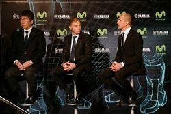 Kouichi Tsuji, directeur général de la division développement sport mécanique, Yamaha Motors, Lin Jarvis, directeur général de Yamaha Factory Racing, Massimo Meregalli, directeur de l'équipe Yamaha Factory Racing Team