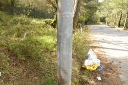 Il luogo dell'incidente di Mauro Amendolia e Gemma Amendolia: segni dell'impatto su un palo dell'alta tensione