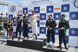 Podio GT3 gara 2, Di Benedetto-Merendino (Audi Sport Italia,Audi R8 LMS-GT3 #98), Venerosi-Baccani (Ebimotors,Porsche 997 GT3 R #88), La Mazza-Magli (Easy Race,Ferrari 458-GT3 #79)