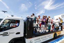 Jérôme d'Ambrosio, Dragon Racing,Sam Bird, DS Virgin Racing, on the drivers parade