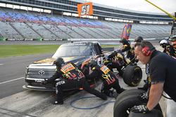 Myatt Snider, Kyle Busch Motorsports Toyota, makes a pit stop