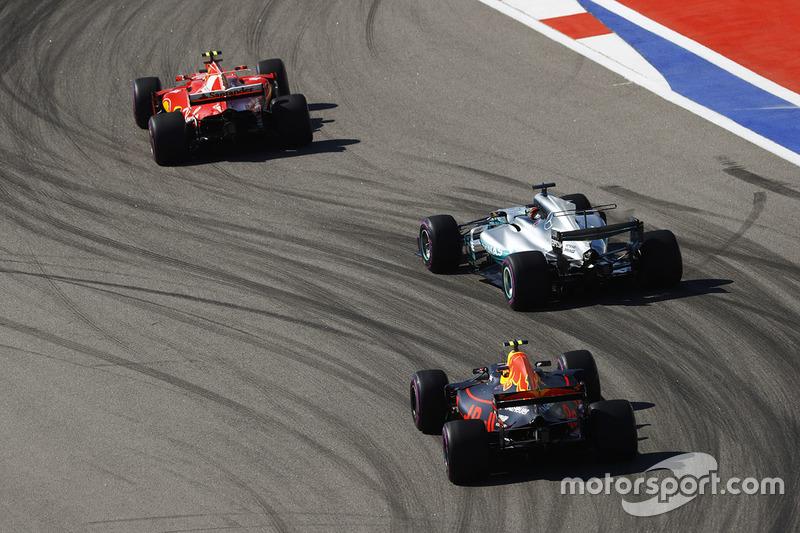 Kimi Raikkonen, Lewis Hamilton y Max Verstappen
