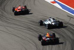 Kimi Raikkonen, Ferrari SF70H, Lewis Hamilton, Mercedes AMG F1 W08 and Max Verstappen, Red Bull Racing RB13