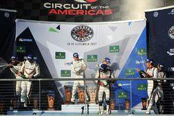 Podium: winners Timo Bernhard, Earl Bamber, Brendon Hartley, Porsche Team, second place Neel Jani, A