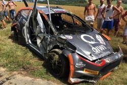La Ford Fiesta R5 di Alexey Lukyanuk, Russian Performance Motorsport, dopo l'incidente nella PS2