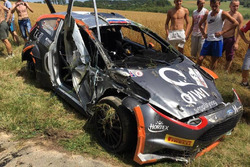 La Ford Fiesta R5 di Alexey Lukyanuk, Russian Performance Motorsport, dopo l'incidente nella PS2
