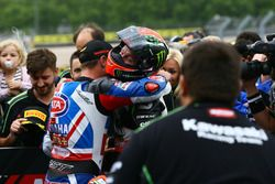 Third place Alex Lowes, Pata Yamaha, race winner Tom Sykes, Kawasaki Racing