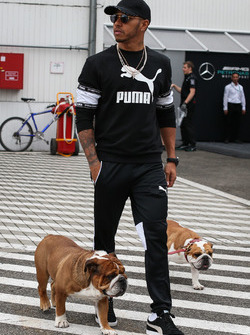 Lewis Hamilton, Mercedes AMG F1 with his dogs Coco and Roscoe