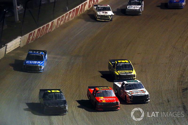 Harrison Burton, Kyle Busch Motorsports Toyota, Max Johnston, Young Motorsports Chevrolet and Norm Benning, Norm Benning Racing Chevrolet