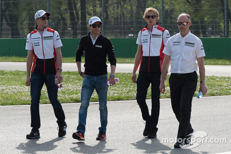 Timo Bernhard, Earl Bamber, Brendon Hartley, Porsche Team, during the track walk