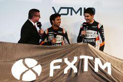 David Croft, Sky Sports Commentator with Sergio Perez, Sahara Force India F1 and Esteban Ocon, Sahara Force India F1 Team