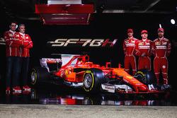 Kimi Raikkonen, Sebastian Vettel, Antonio Giovinazzi, Maurizio Arrivabene, Ferrari Team Principal and Mattia Binotto, Ferrari chief technical officer